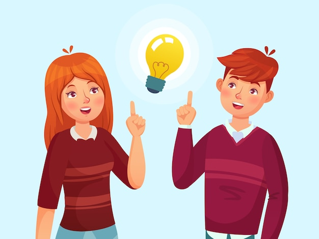 Young people have idea. students couple having solution, teenagers ideas lamp bulb metaphor and teen cartoon  illustration