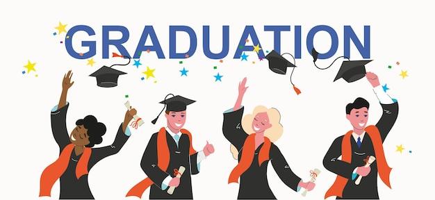 Молодые люди получили образование, окончили школу. выпускники вскидывают шляпы.