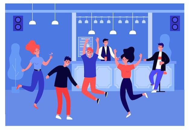 바에서 파티를 즐기는 젊은이들. 평면 벡터 일러스트 레이 션. 여성과 남성, 칵테일과 함께 시끄러운 음악에 맞춰 춤을 추는 친구들. 재미, 파티, 디스코, 알코올, 휴일, 배너 디자인을 위한 청소년 개념