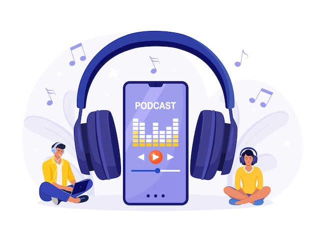 Young people in headphones sitting on the floor and listening to podcast on a smartphone. online podcasting show, radio. people listening speakers from broadcasting station. webinar, internet training