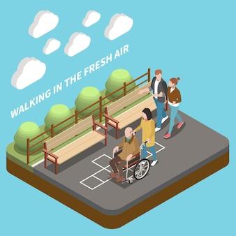 Молодые люди помогают пожилым людям и гуляют на свежем воздухе