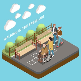 Young people helping elderly people and walking in the fresh air