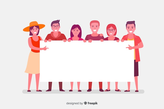 Man holding banner Vector | Free Download
