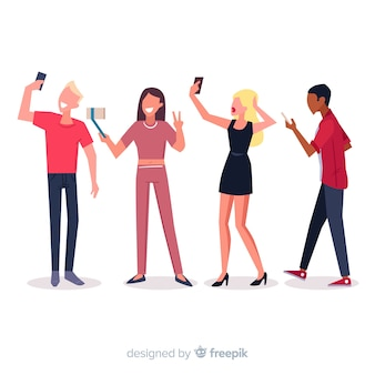 Young people holding smartphones illustrated