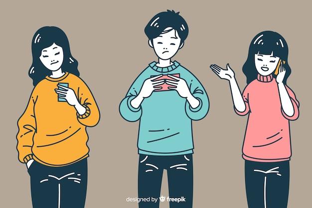 韓国の描画スタイルでスマートフォンを保持している若者