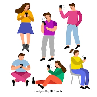 Young people holding smartphones
