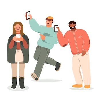 Young people holding their phones Free Vector