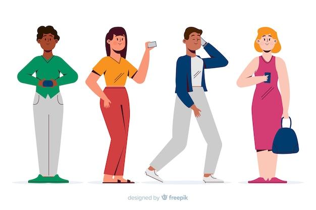 젊은 이들이 자신의 스마트 폰을 들고