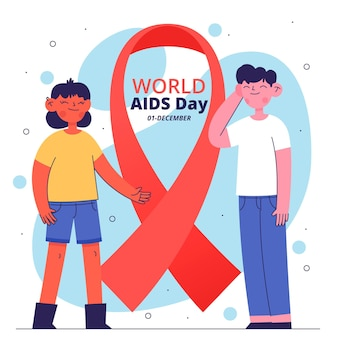 Young people illustrated next to aids day symbol