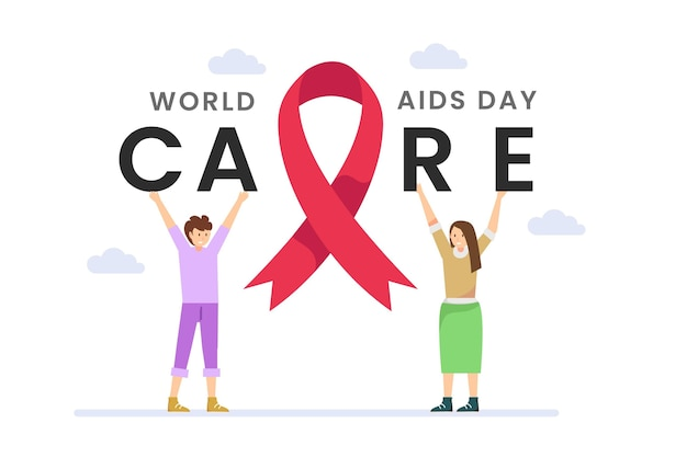 Young people illustrated with aids day message