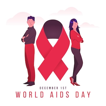 Young people illustrated with aids day text