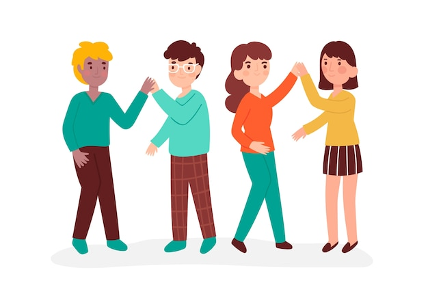 Young people illustration giving high five set