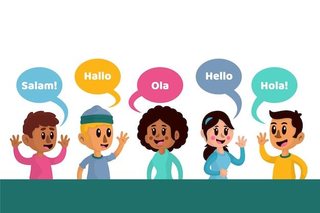 Набор молодых людей, говорящих на разных языках