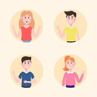 Young people illustrations waving hand collection