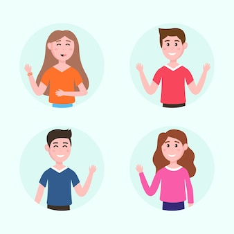 Young people illustrations waving hand pack
