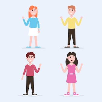 Young people illustrations waving hand set
