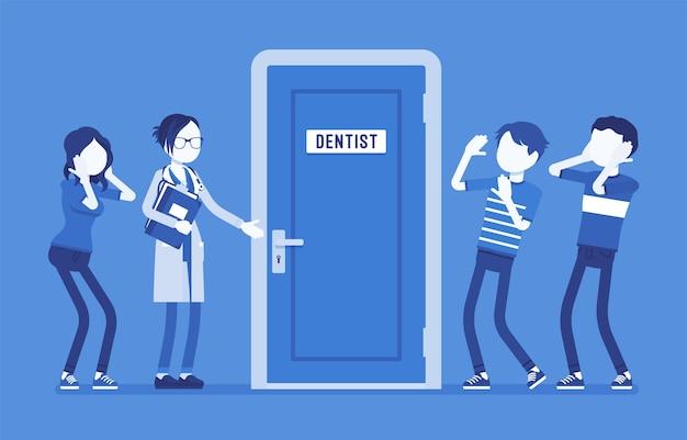 Молодые люди боятся стоматологии