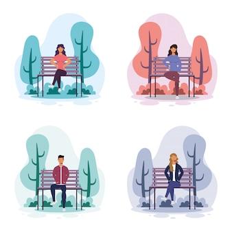 公園の椅子のアバター文字イラストデザインの若者