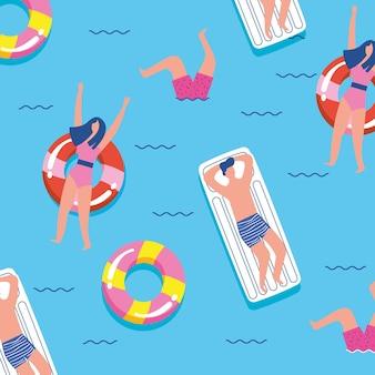 フロートと海の若者。夏のバナー