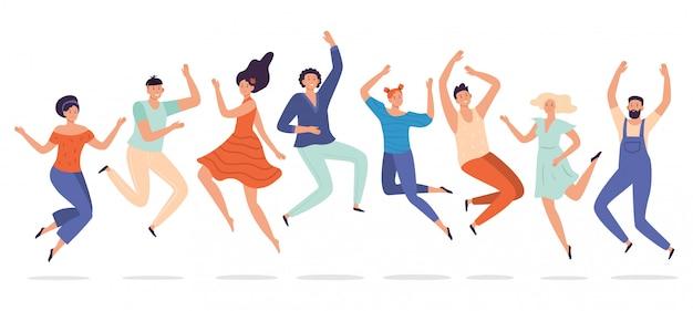若い人たちはジャンプします。 10代の若者のグループ、幸せな10代の学生を笑って、興奮している人々の笑顔をジャンプ