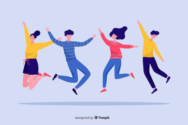 젊은 사람들은 점프와 재미
