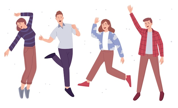 Young people jumping for happiness set of boys and girls Premium Vector