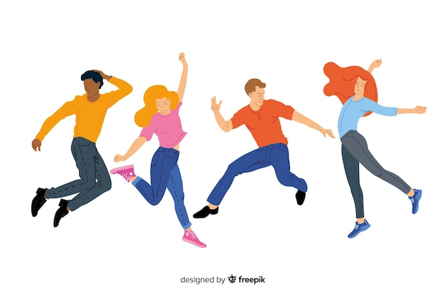 Young people jumping and having fun
