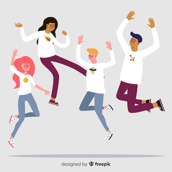 Young people jumping illustrated