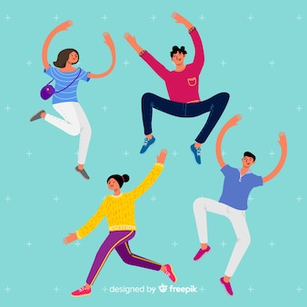 Young people jumping illustration concept