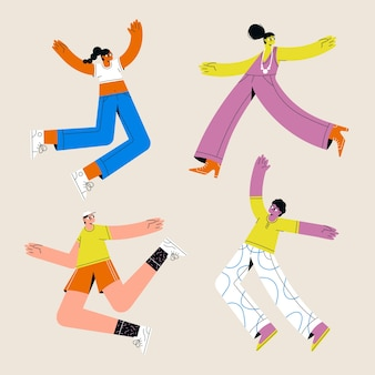 Young people jumping illustration set