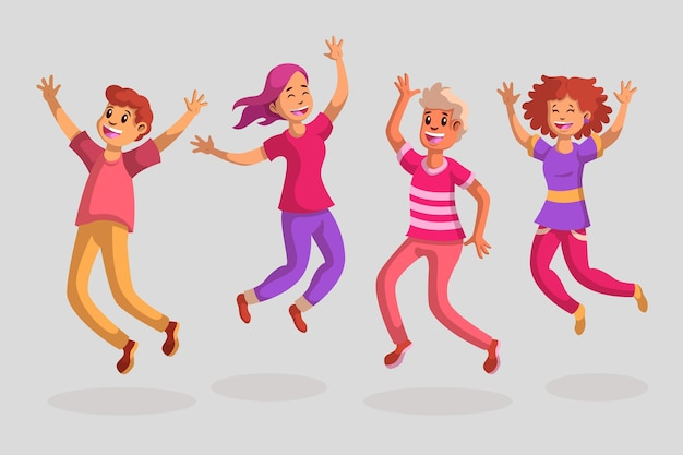 Young people jumping illustration