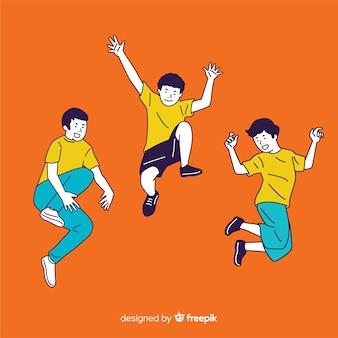 오렌지 배경으로 한국 그리기 스타일로 점프하는 젊은 사람들