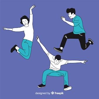 한국 그리기 스타일로 점프하는 젊은이