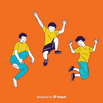 Young people jumping in korean drawing style with orange background