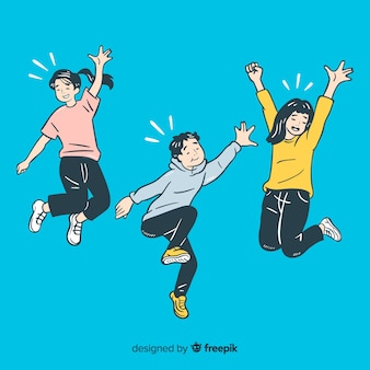 Young people jumping in korean drawing style