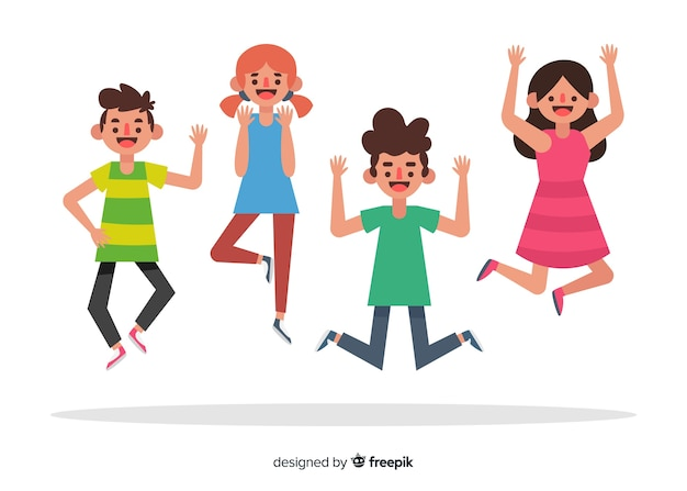 Young people jumping together illustrated