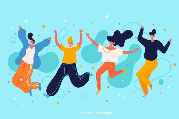 Young people jumping together illustration