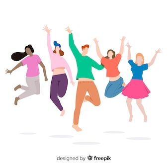 Young people jumping on white background