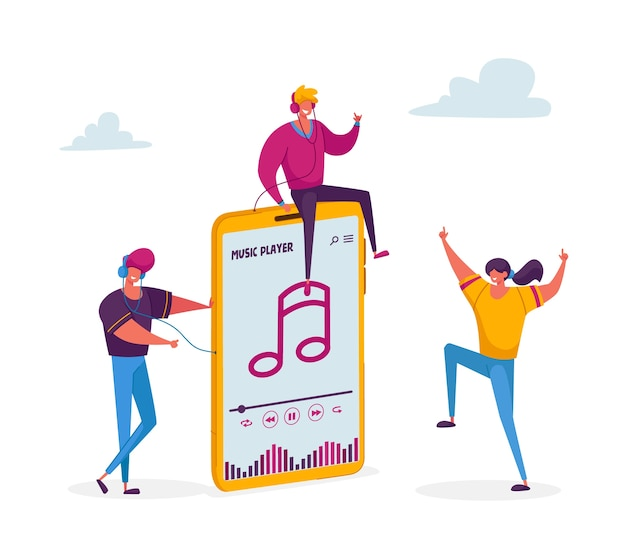 Молодые люди слушают музыку на огромном плеере
