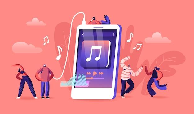Молодые люди слушают музыку на концепции приложения мобильного телефона. мультфильм плоский иллюстрация