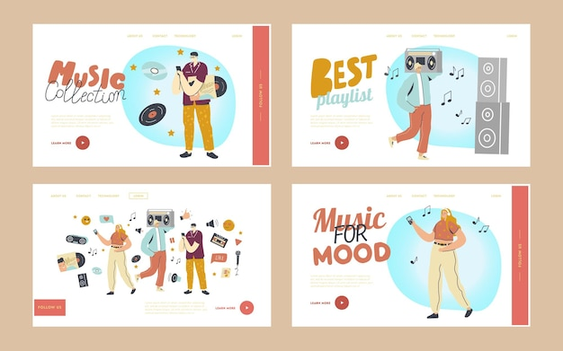 Young people listen playlist landing page template set. characters in headphones enjoying sound composition on music player or mobile phone application, relaxing people. cartoon vector illustration