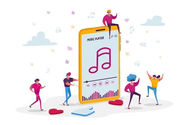 Молодые люди слушают звуковую композицию на музыкальном плеере