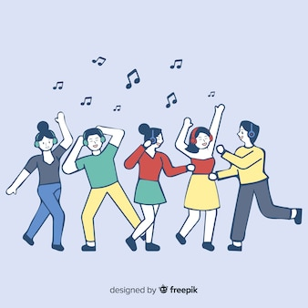 Young people listening to music in korean drawing style