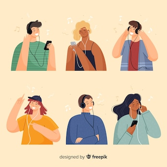 Young people listening to music