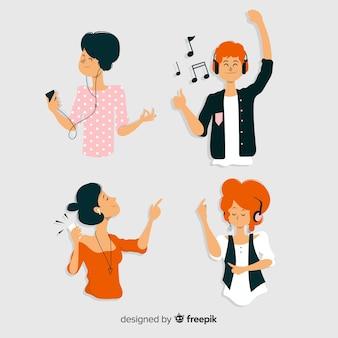 젊은 사람들이 음악을 듣고