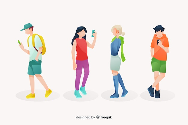 Young people looking at their smartphones illustrated