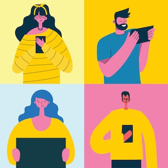 Молодые люди мужчина и женщина, использующие технологический гаджет, смартфон, мобильный телефон, планшетный пк, портативный компьютер, в общении в социальной сети