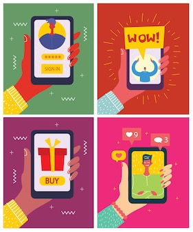 Young people man and woman using technology gadget smartphone mobile phone tablet pc laptop computer in social network communication concept flat design cartoon style with copyspace
