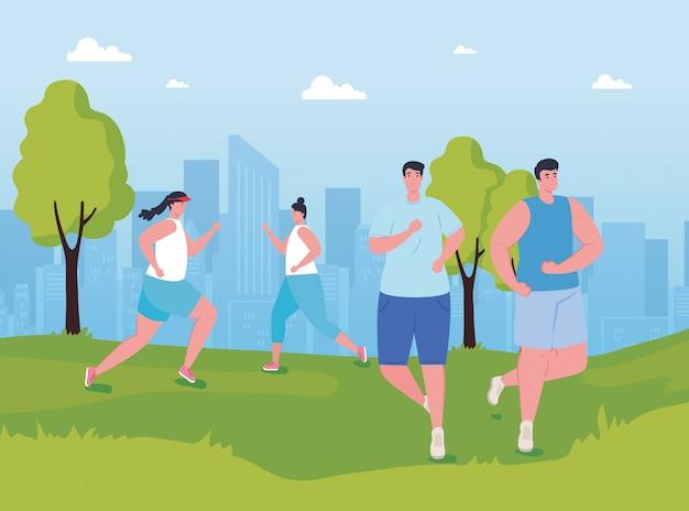 Молодые люди марафонцы, бегущие в парке, женщины и мужчины, соревнования по бегу или марафонские гонки