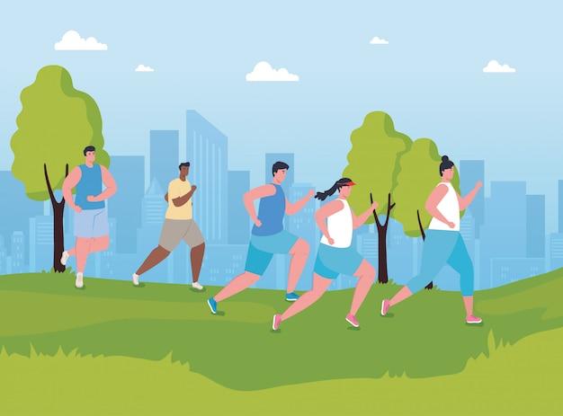 Молодые люди марафонцы бегут по парку, женщины и мужчины, бегут соревнования или марафонские гонки, плакат, здоровый образ жизни и спорт